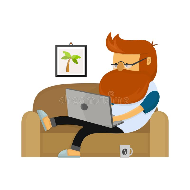 Young freelancer hipster man working stock illustration