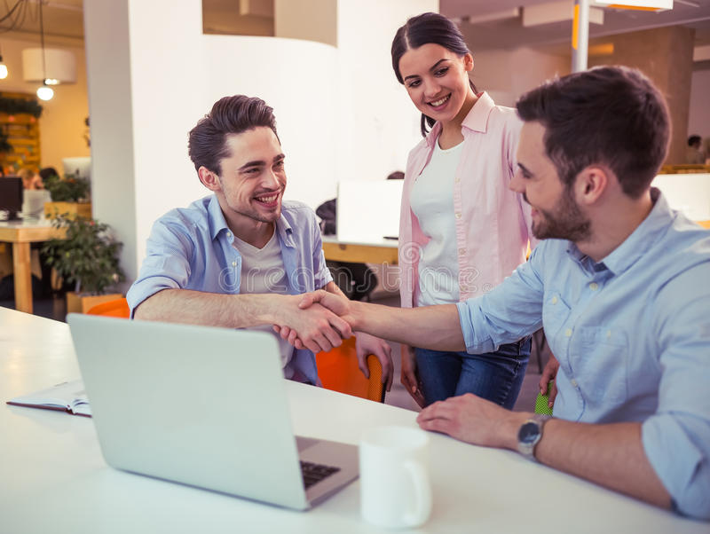 Young freelancers working stock photo