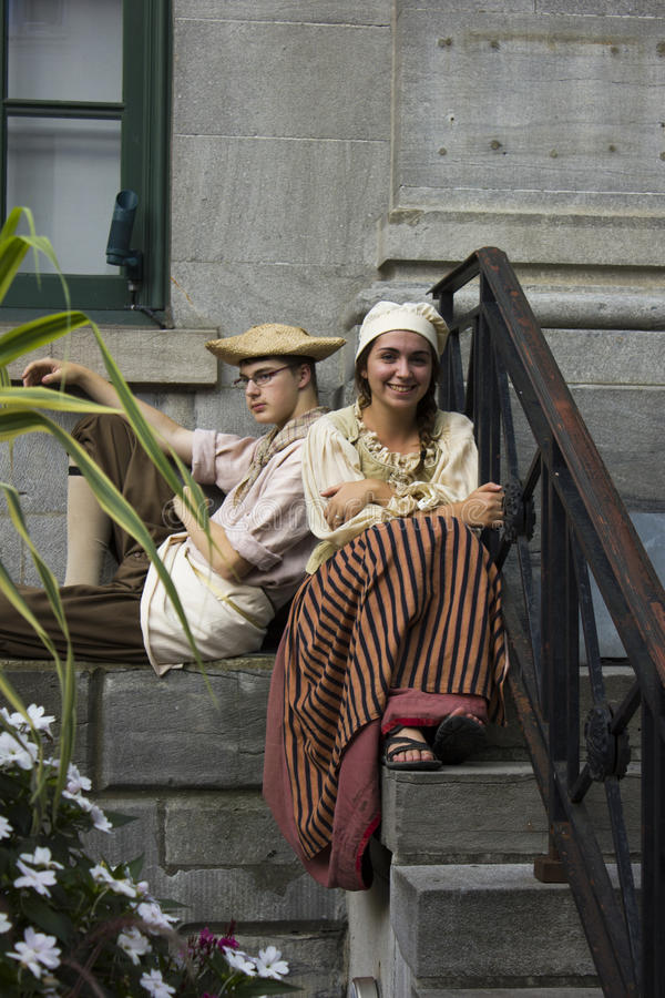 Young French Canadian Couple in Traditional clothing stock photos