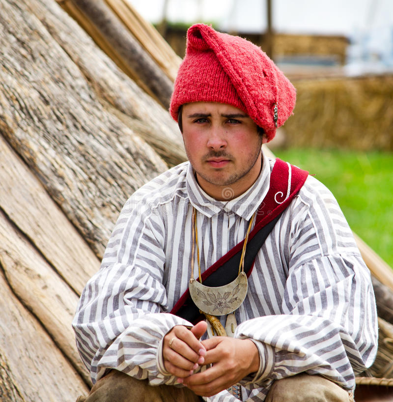 Young 1700 french trapper royalty free stock image