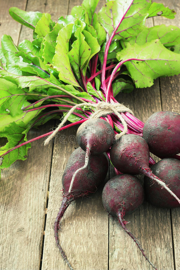 Young,fresh beets with tops on old wooden background.Style rustic.Selective focus royalty free stock photos