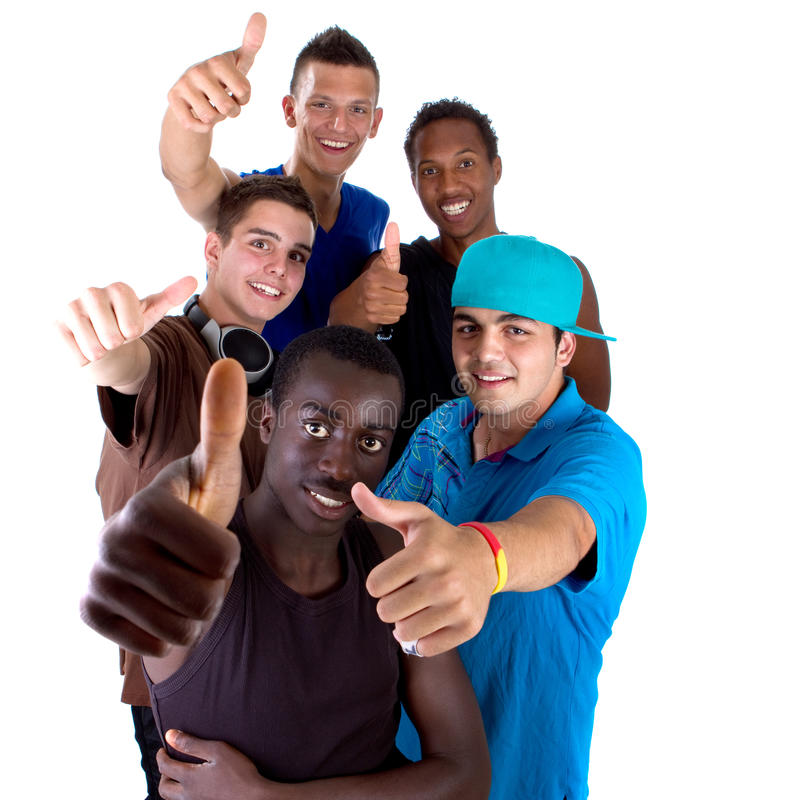 Young fresh group of teens. Young fresh interracial group of teenagers showing thumbs up sign as a sign of success. Isolated over white background stock photos