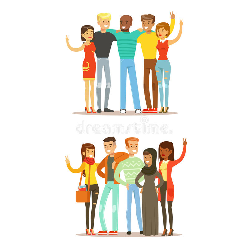 Young Friends From All Around The World And Happy International Friendship Vector Cartoon Illustration royalty free illustration