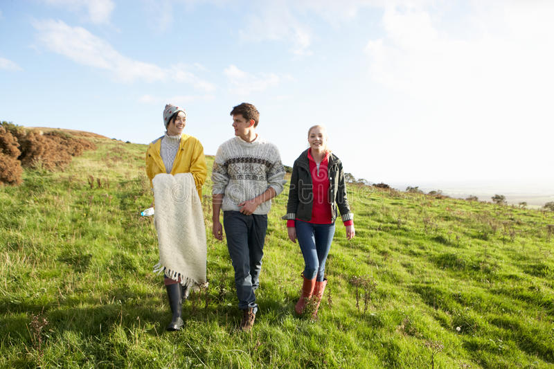Download Young Friends On Country Walk Stock Image - Image of girls, autumn: 21411639