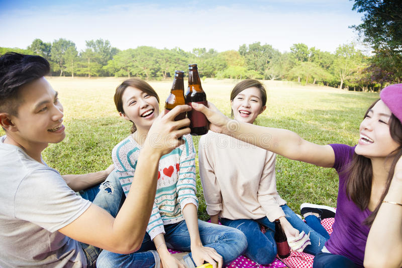 Young friends enjoying picnic and drinking beer stock photo