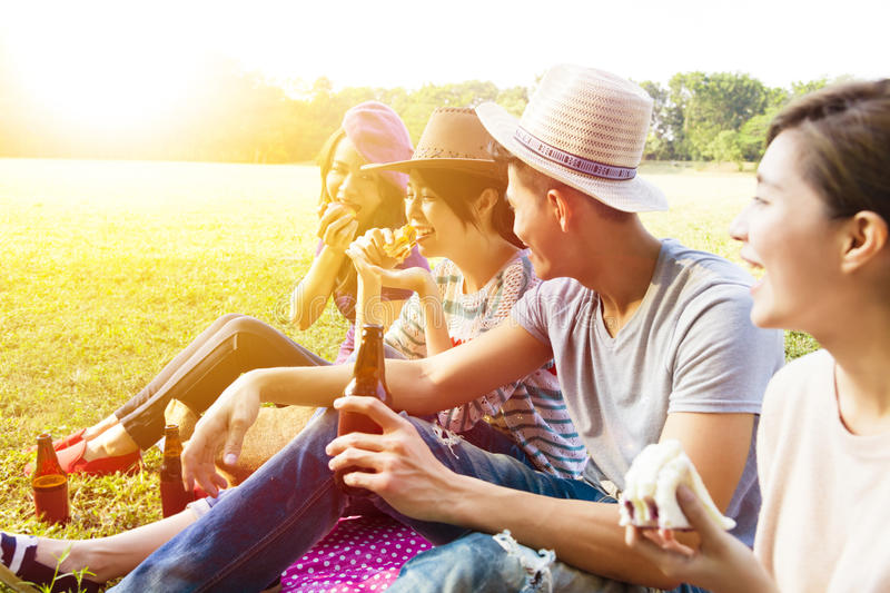 Young friends enjoying picnic and eating royalty free stock image