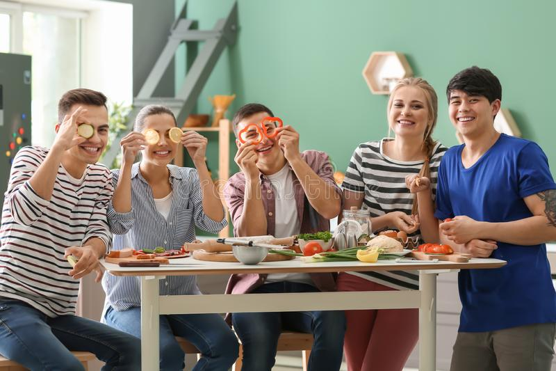 Young friends having fun while cooking in kitchen royalty free stock photos