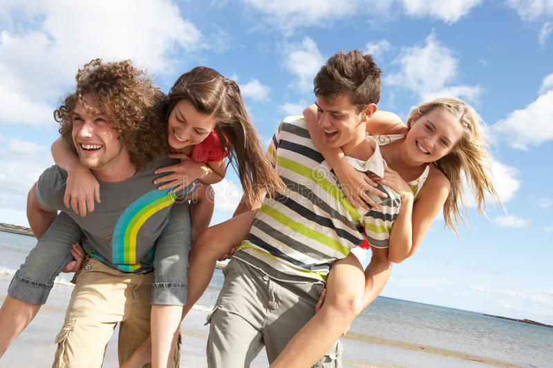 Download Young Friends Having Fun On Summer Beach Stock Image - Image: 13672717