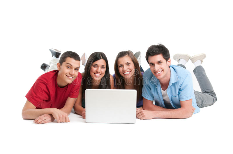 Young friends at laptop stock photos