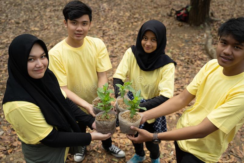 Young friends with new trees stock image