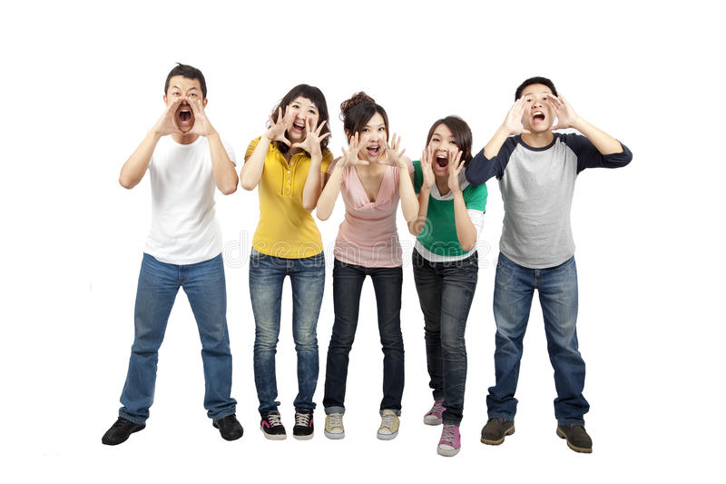 Young friends shouting together stock images