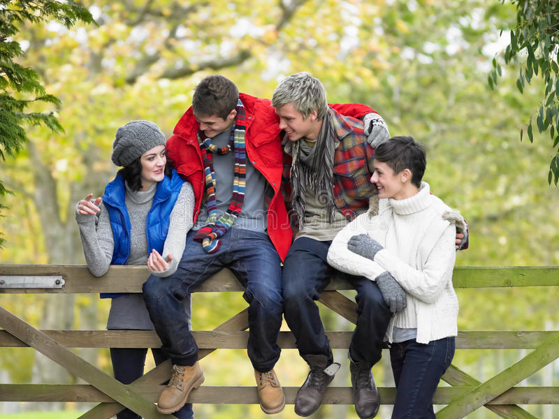 Download Young Friends Sitting On Fence Stock Image - Image of enjoying, length: 19687777