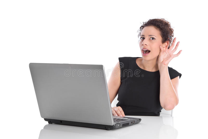 Young Funny Business Woman - Hard-of-hearing Or Curious Royalty Free Stock Photos