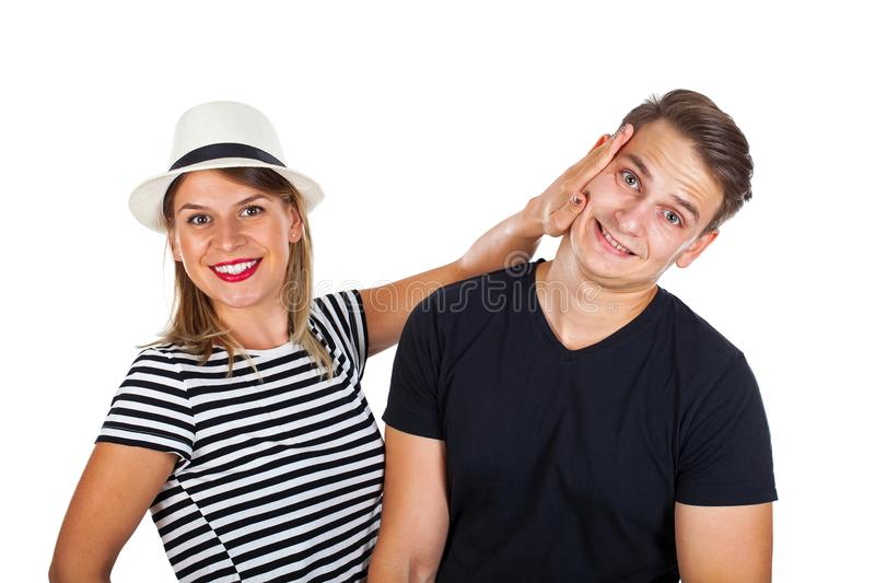 Young funny couple royalty free stock photos