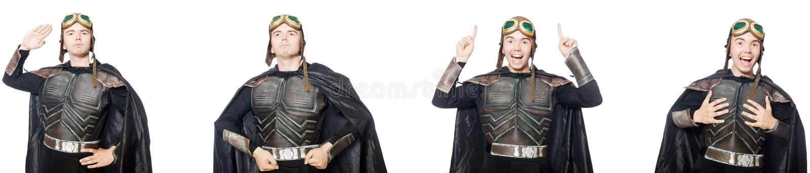 The young funny man in armour suit. Young funny man in armour suit royalty free stock photography