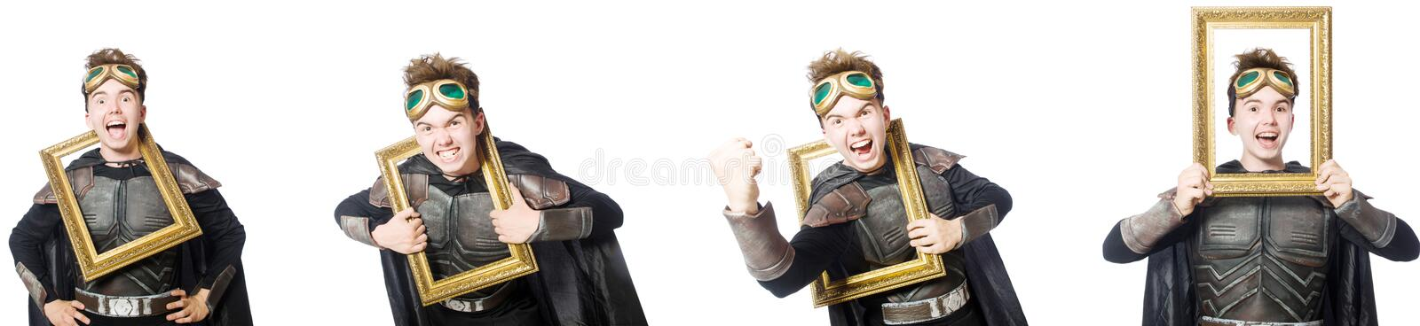 The young funny man in armour suit. Young funny man in armour suit stock photography