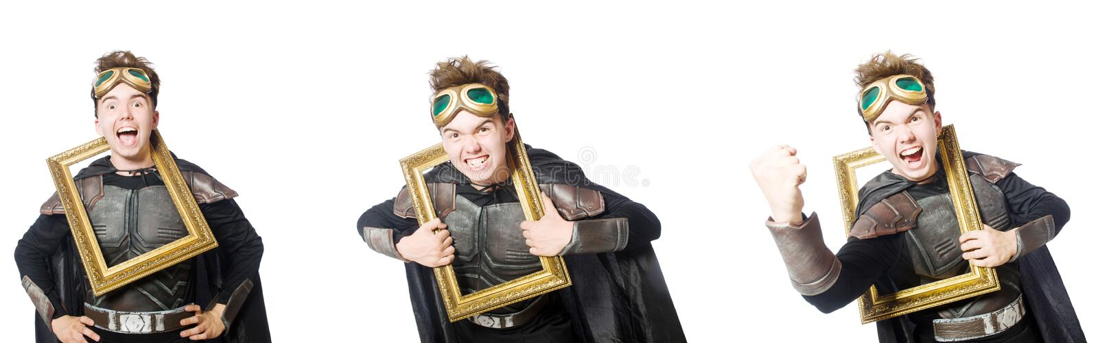 The young funny man in armour suit. Young funny man in armour suit stock photo