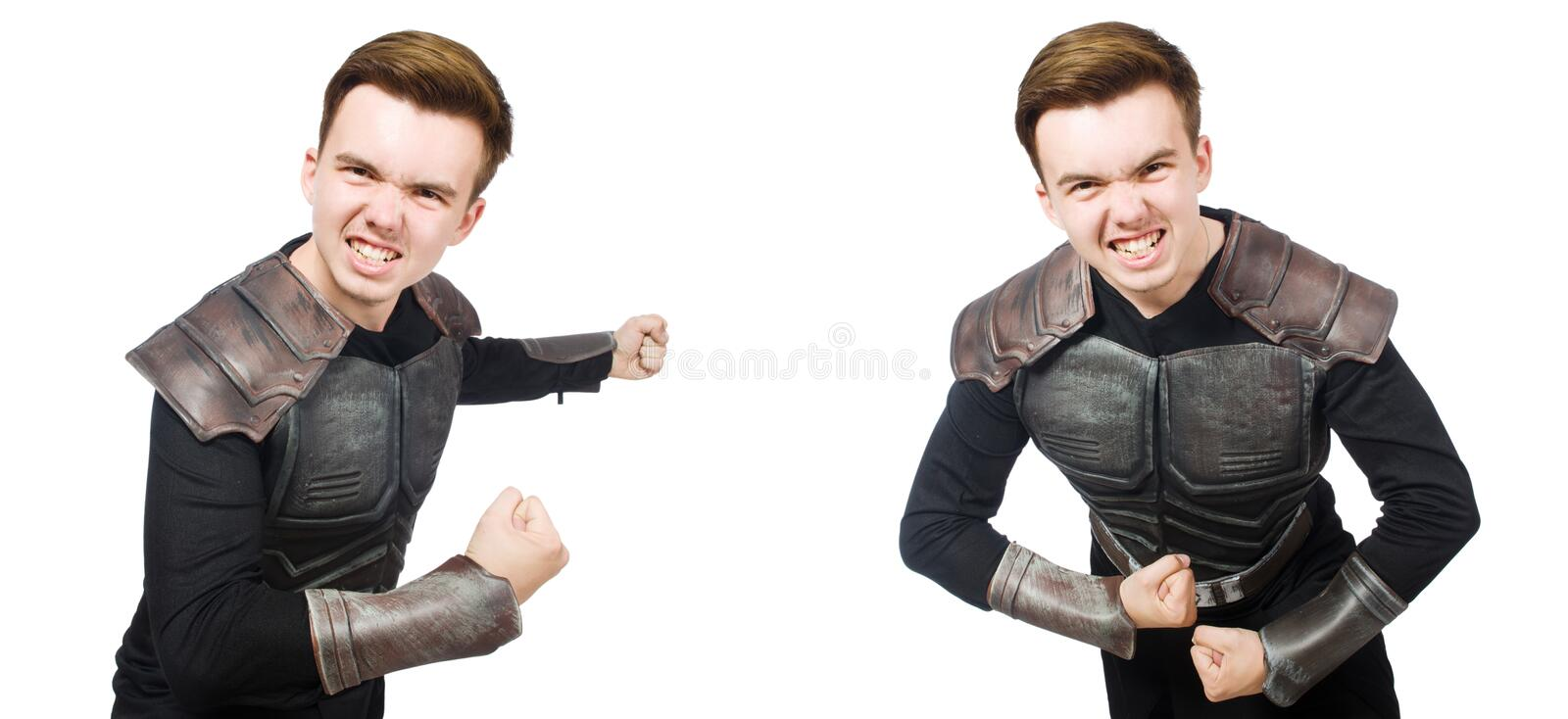 The young funny man in armour suit. Young funny man in armour suit stock images