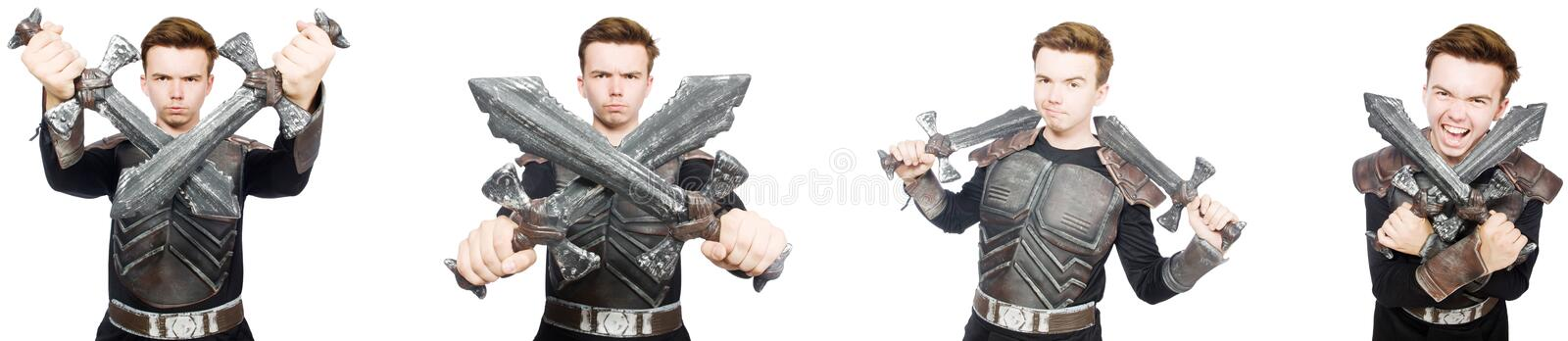 The young funny man in armour suit. Young funny man in armour suit royalty free stock images