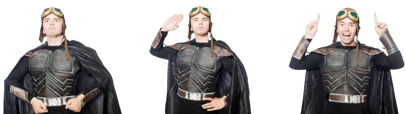The young funny man in armour suit. Young funny man in armour suit stock photos