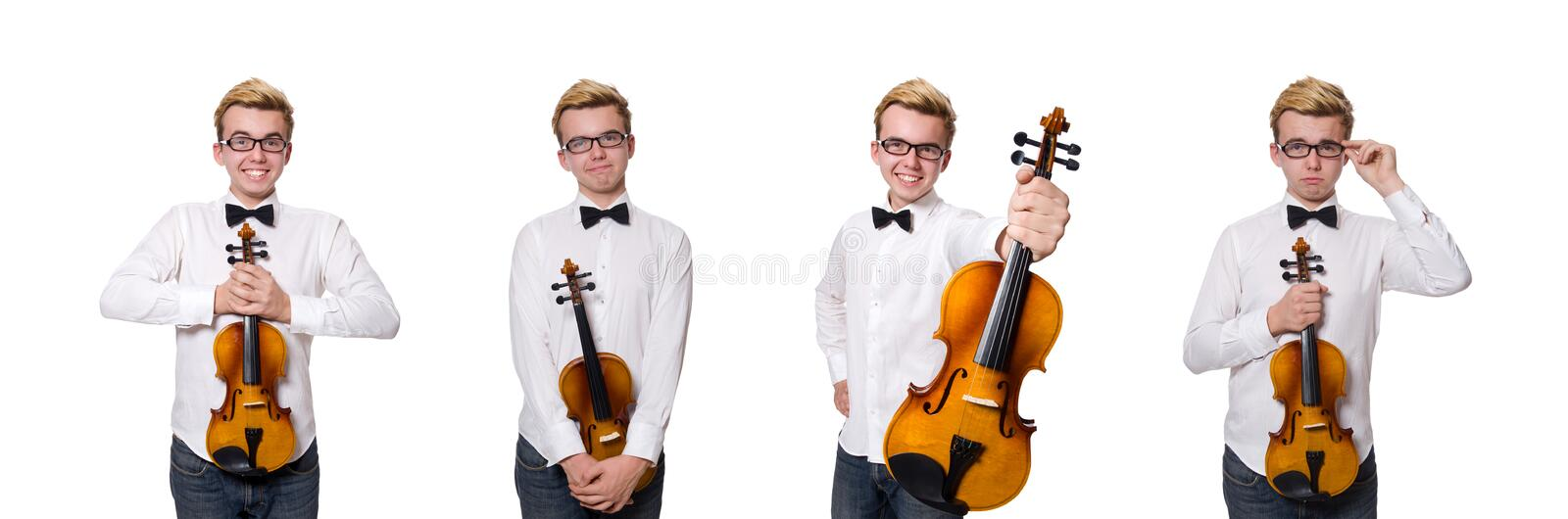 Young funny violin player isolated on white royalty free stock photos