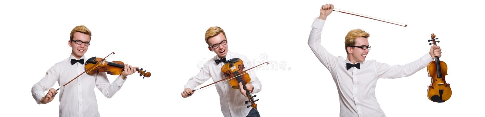 Young funny violin player isolated on white stock photography