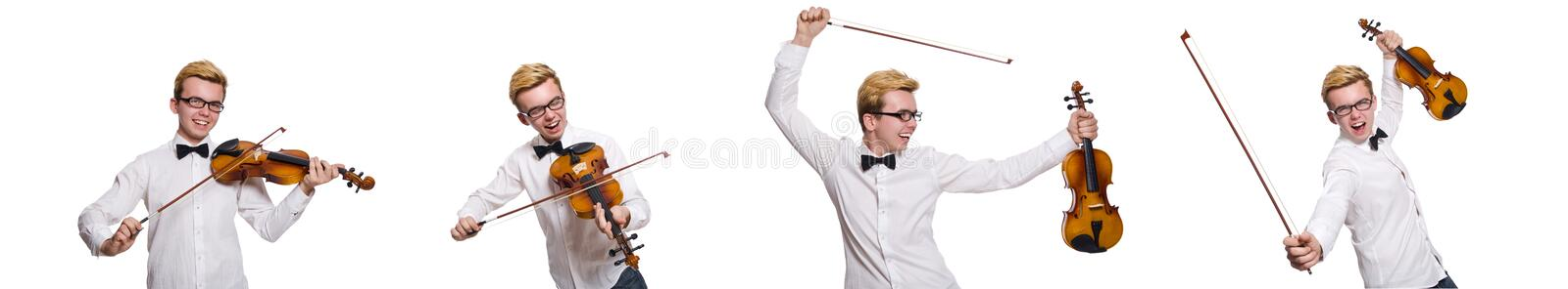Young funny violin player isolated on white stock images