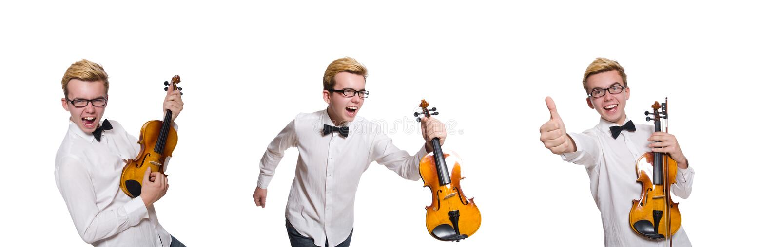 Young funny violin player isolated on white royalty free stock photography