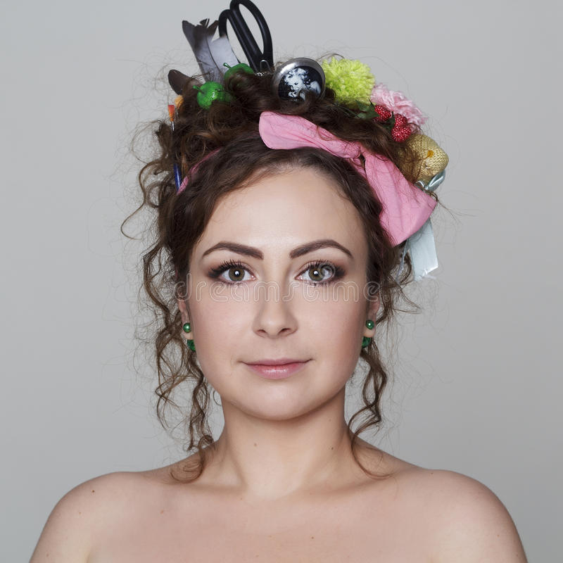 Young and funny woman with interesting and creative hairstyle. Portrait of young and funny woman with interesting and creative hairstyle royalty free stock photo