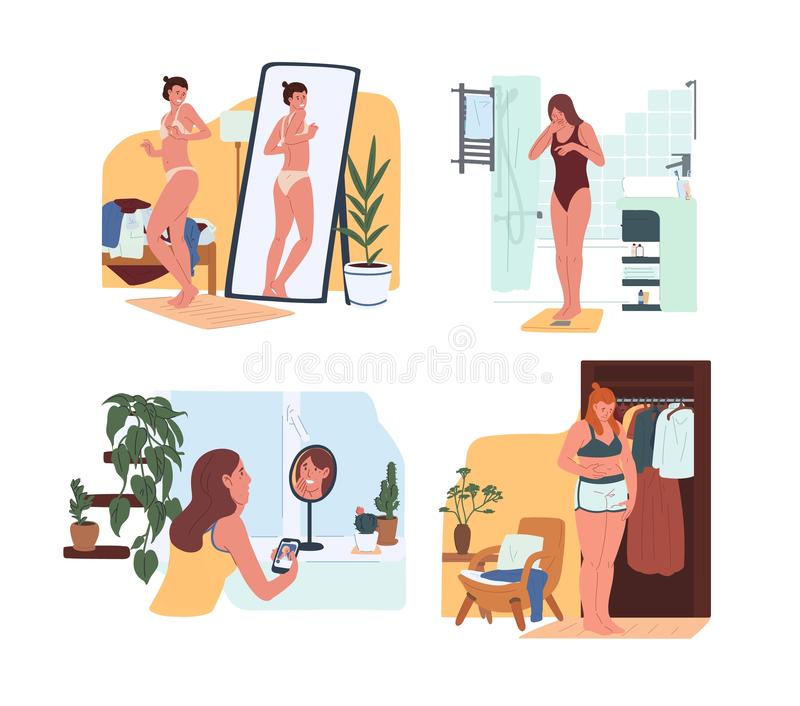 Young funny women in underwear looking in mirror and weighing on scales. Body rejection problem, dysmorphophobia, self royalty free illustration