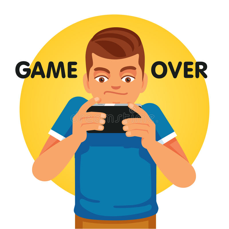 Young gamer unhappy about game over stock illustration