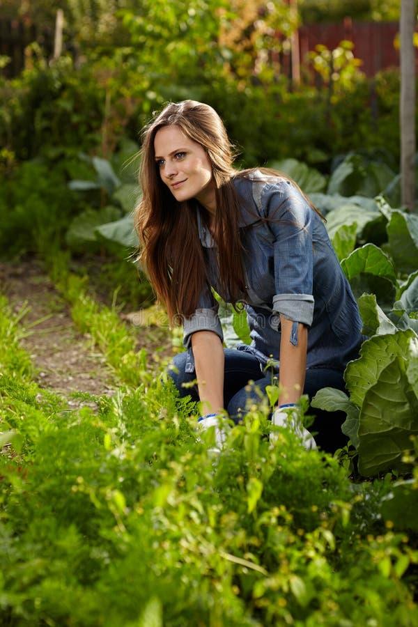 Young Gardener Woman Working In Her Harden Stock Photo