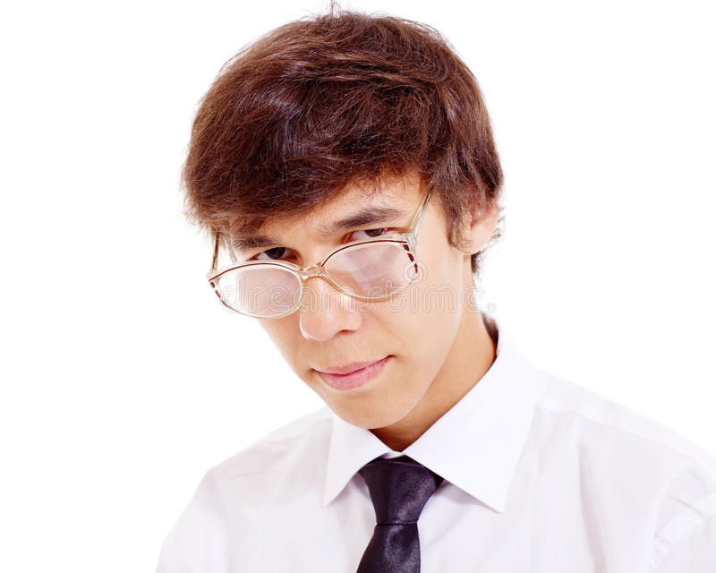 Young geek in funny glasses stock image