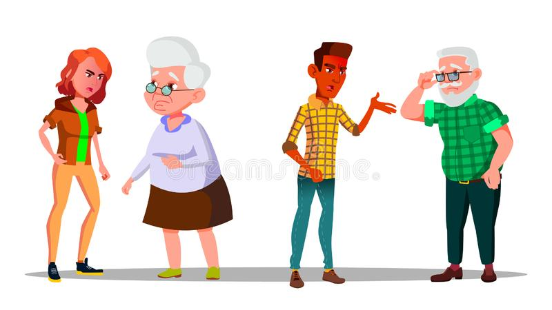 Young Generation Character Abuse Cry At Old Vector stock illustration