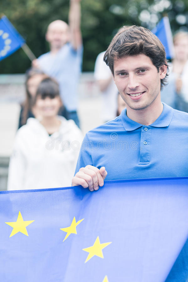 Young generation of EU enthusiasts royalty free stock photos