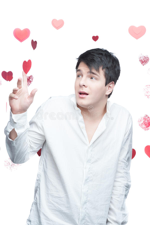 Download Young gentle brunette man stock image. Image of valentine - 29164223