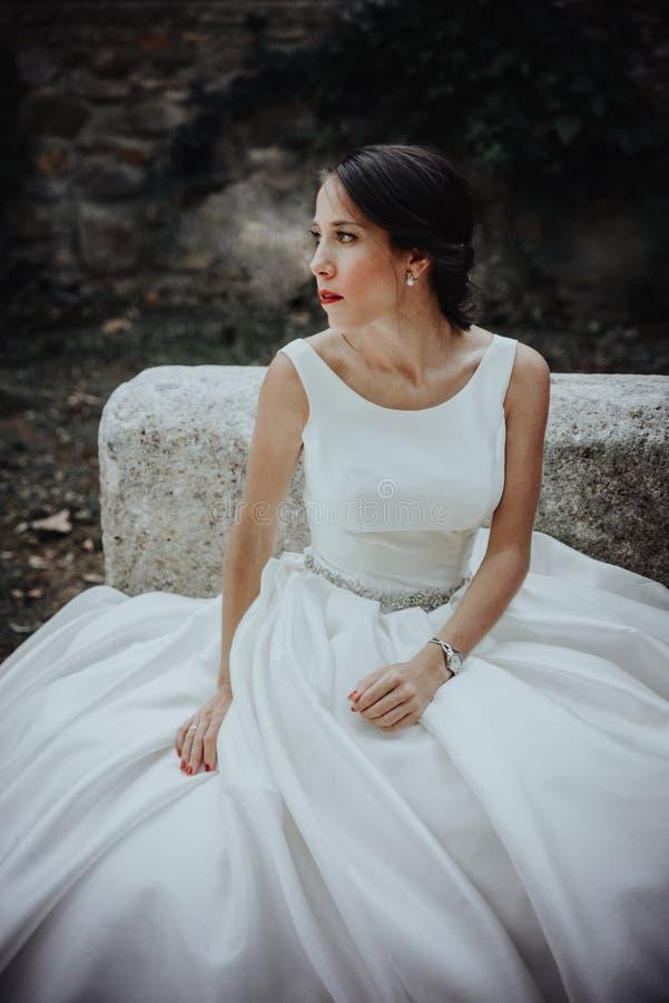 Young Gentle Quiet Bride in Classic White Veil Looking Away. Portrait of beautiful bride stock image