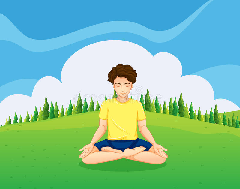 A Young Gentleman At The Hilltop Doing Yoga Royalty Free Stock Photos