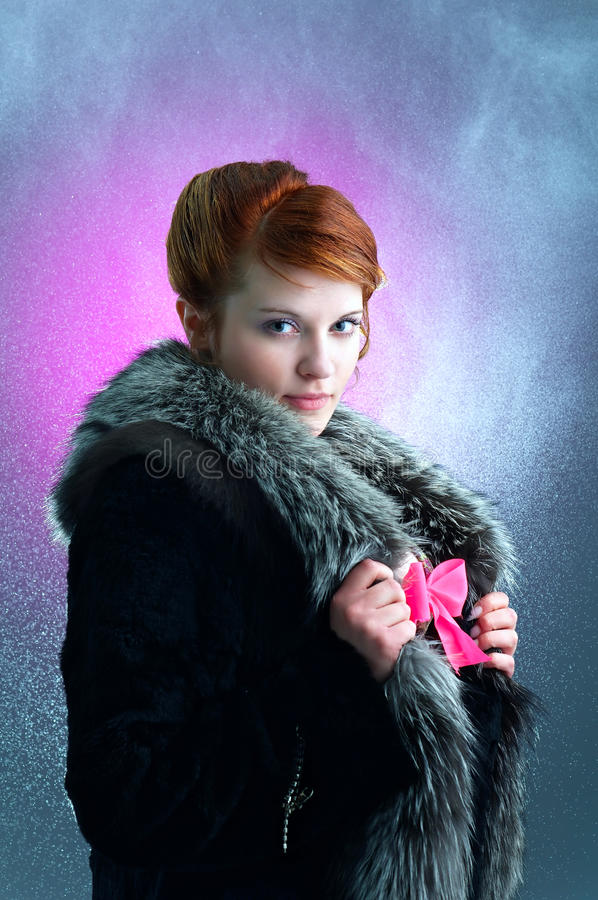Download Young Ginger Lady Under The Rain Stock Image - Image: 13905383