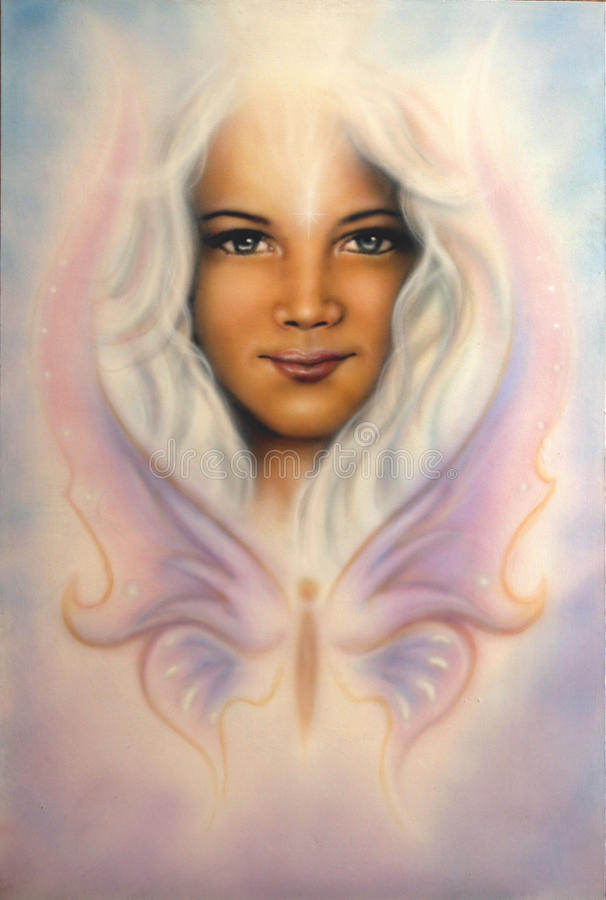 Young girl's angelic face with radiant white hair and a butterfly. A beautiful airbrush painting of a young girl's angelic face with radiant white royalty free stock images