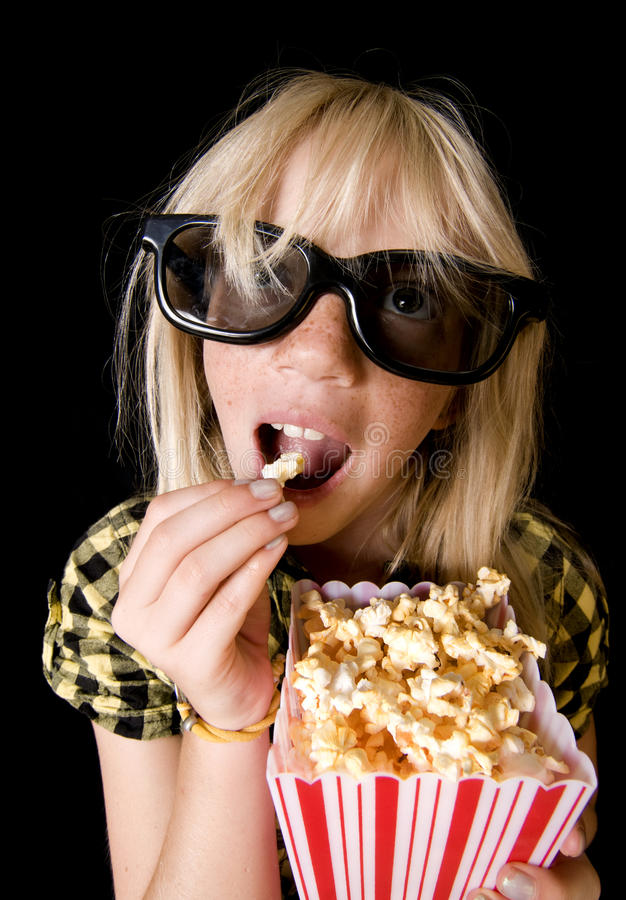Download Young Girl at 3-D Movie stock image. Image of film, background - 10980635