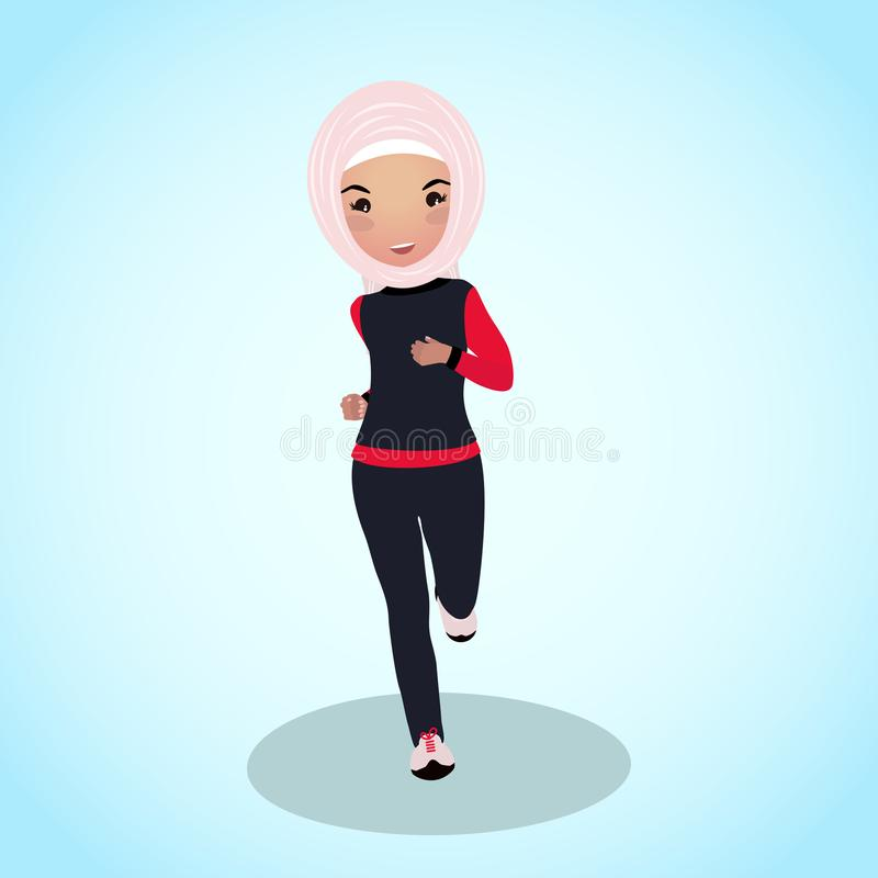 Young girl in abaya tracksuit. Early morning run. Workout outfit. The saudi-made running suit. Beautiful muslim woman in traditional sport clothes vector illustration