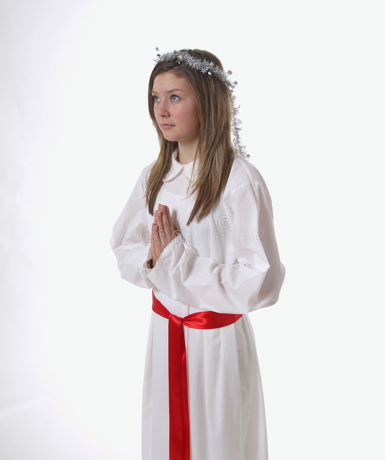 Young girl in angel costume stock photography