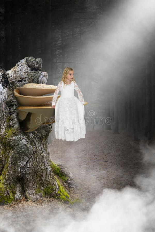 Young Girl, Angel, Hople, Love, Peace. Abstract concept of a young girl angel sitting on a mushroom or toadstool fungi. Background is the deep, dark woods stock photos