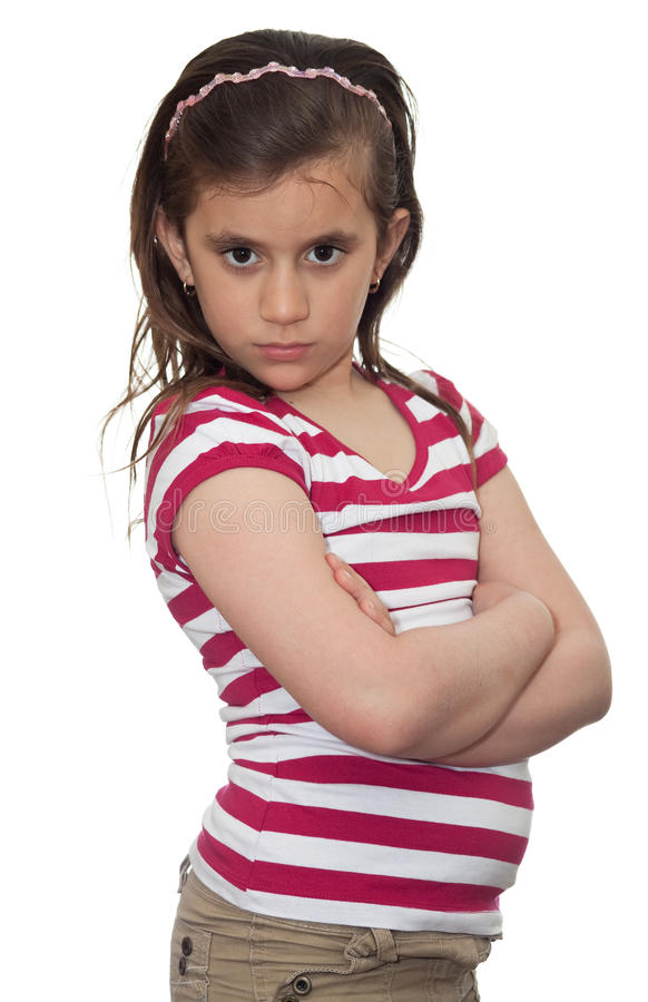 Young girl with an angry look stock photography