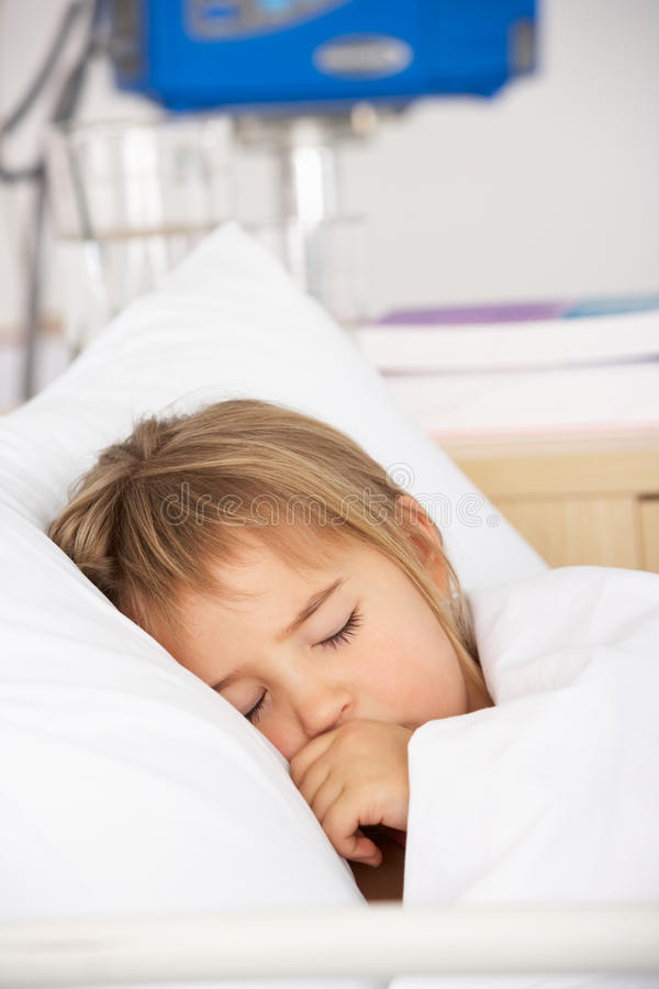 Young Girl Asleep In Accident And Emergency Bed Royalty Free Stock Photo