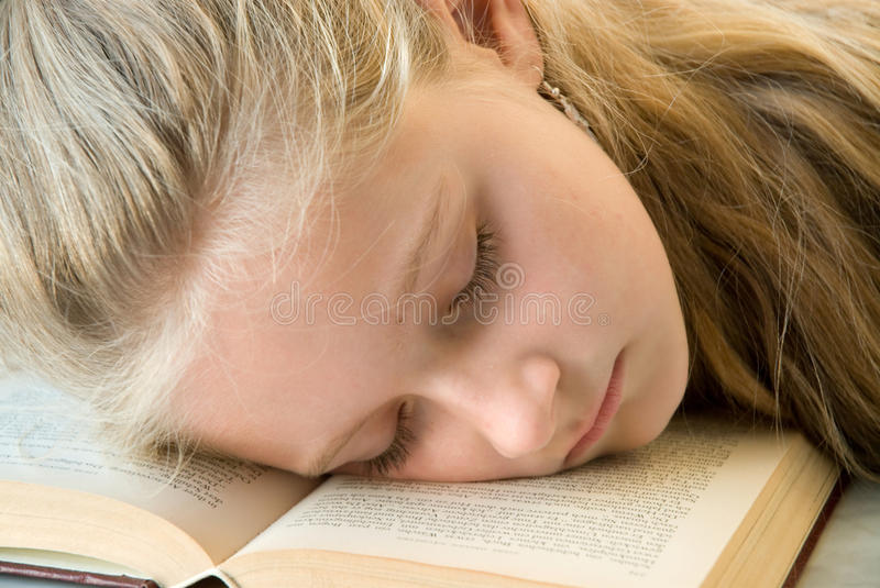 Download Young Girl Asleep In A Book Stock Photo - Image: 13908964