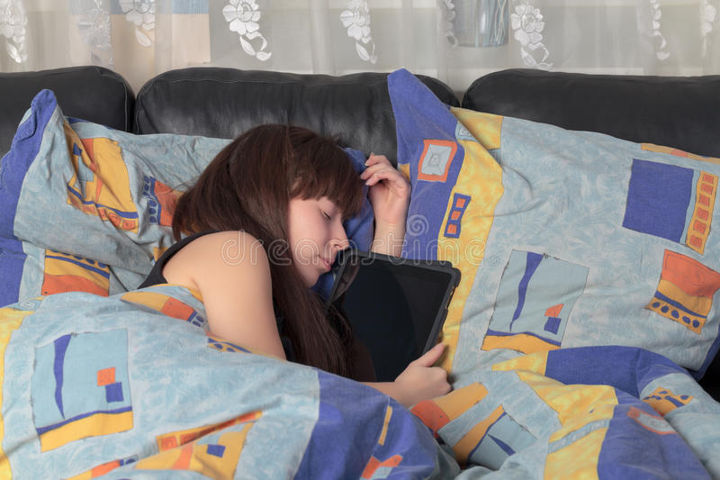 Download Young Girl Asleep With A Tablet Laptop Stock Photo - Image: 23778304