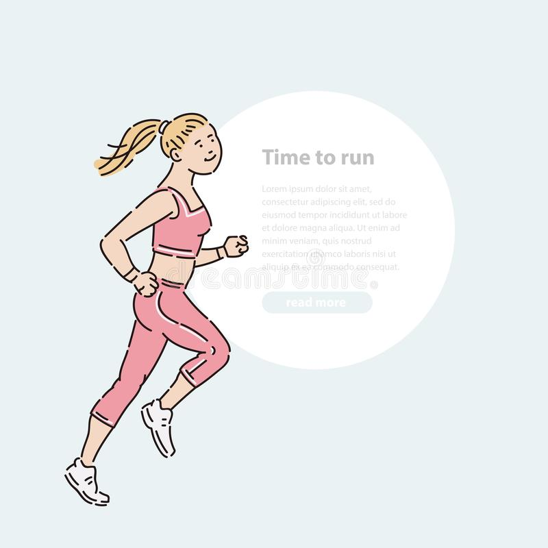 Young girl athlete runs summer time vector line art flat illustration banner and round area for text. vector illustration
