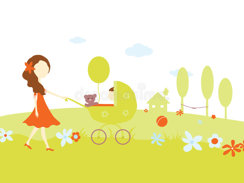 Download Young Girl With A Baby In Pram Stock Image - Image: 4491131